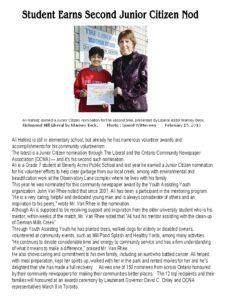 Student Earns Second Junior Citizen Nod