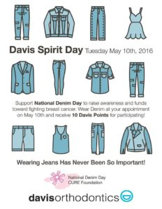 On Tuesday May10th, Davis Ortho held it's annual National Denim Day, in support of women's breast cancer. We are proud to say that internally Doctors and Staff raised $338 for the Cure Foundation!